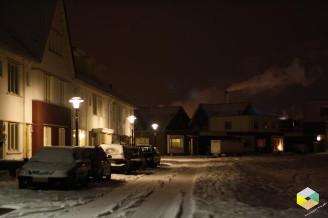 Stelplaats in de sneeuw