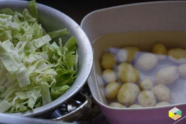 spitskool en aardappels